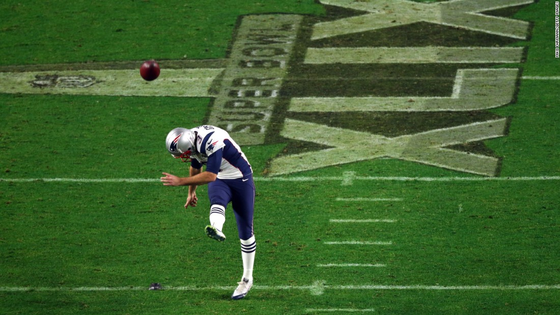 New England's Stephen Gostkowski kicks off in the second half.