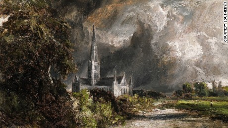 "The price of John Constable's ""Salisbury Cathedral from the Meadows"" jumped dramatically at a Sotheby's auction in New York."