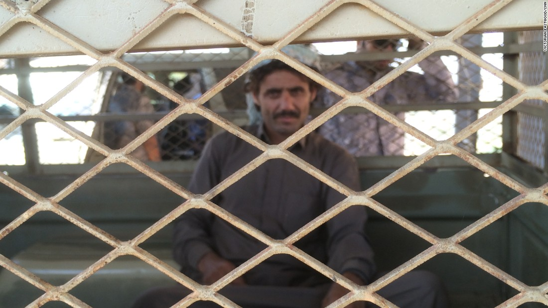 This man was detained trying to cross the mountainous border from Yemen into Saudi Arabia.