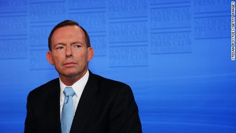 Prime Minister Tony Abbott prepares to speak at the National Press Club on February 2, 2015 in Canberra.