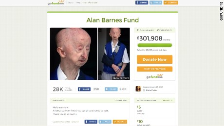 A screenshot of the GoFundMe fundraising page for Alan Barnes, created by beautician Katie Cutler.