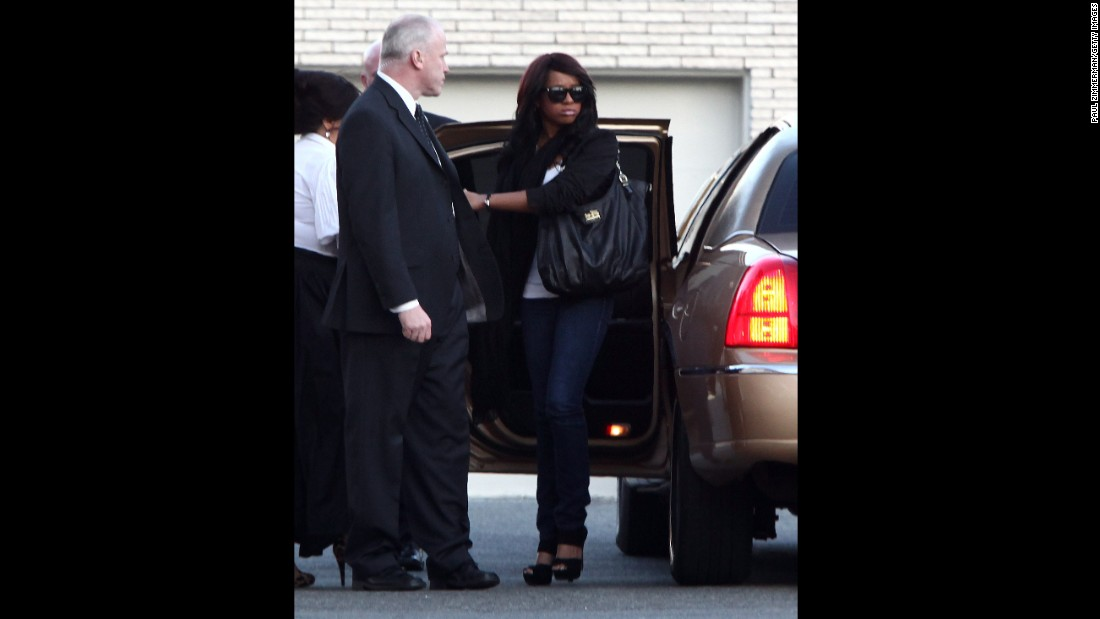 Bobbi Kristina was 18 when her mother was found dead in a Beverly Hills hotel room. Here, Bobbi Kristina arrives at a funeral home in Newark, New Jersey.