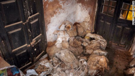 An image of body parts found in a locked room at a police station in Uttar Pradesh.