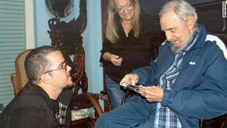 Cuban state-press Monday, February 2, 2015, released the first images of Fidel Castro since August. The 21 photos show a reported meeting between Castro, 88, and the head of the student university association in January at Castro's home in Havana. Castro's wife Dahlia is seen smiling in the background.