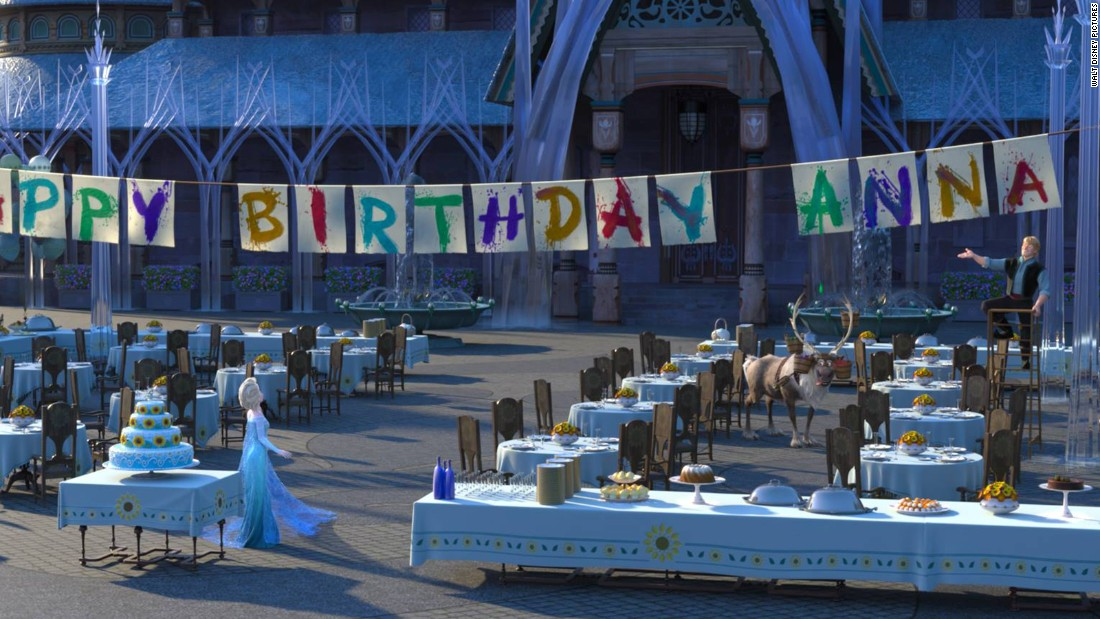 From this photo we can deduce that 1. it's summer in Arendelle, 2. Kristoff is pretty handy with a paintbrush, and 3. this won't be a small gathering. Elsa's party planning apparently hits a snag when she develops a cold that affects her magic powers.