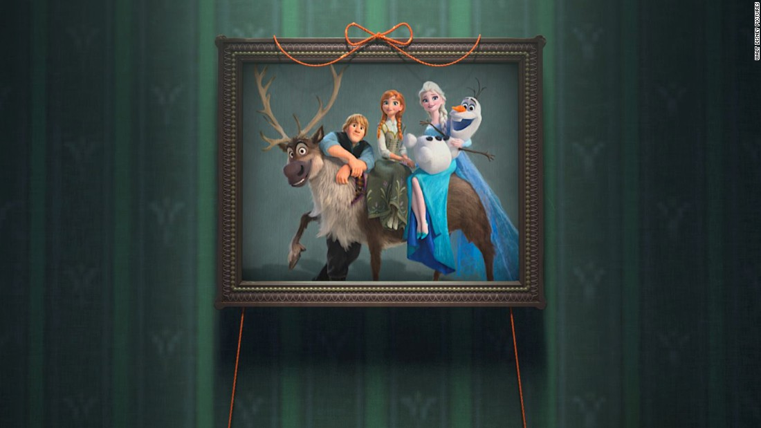 Elsa, Anna and Kristoff pose for a portrait. Olaf and Sven the reindeer complete the unorthodox family unit.