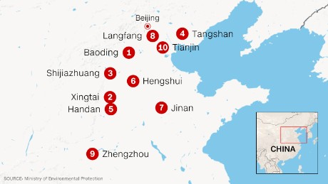 The 10 Chinese cities with the worst air pollution.