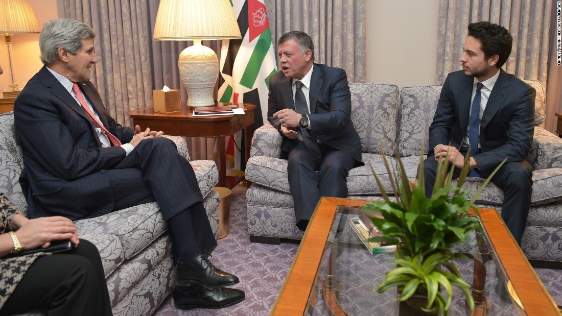 "U.S. Secretary of State John Kerry, left, meets with Jordan's King Abdullah II, center, and Crown Prince Hussein on February 3 in Washington. Kerry described al-Kasasbeh as everything he says ISIS is not: ""He was brave, compassionate and principled. That he was murdered after his father's plea for compassion reminds all the world that this foe has no agenda other than to kill and destroy and places no value on life, including that of fellow Muslims."""