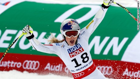 Lindsey Vonn of the United States reacts after crossing the finish line of the Ladies' Super-G in Red Tail Stadium on Day 2 of the 2015 FIS Alpine World Ski Championships on February 3, 2015 in Beaver Creek, Colorado. (Photo by Ezra Shaw/Getty Images)
