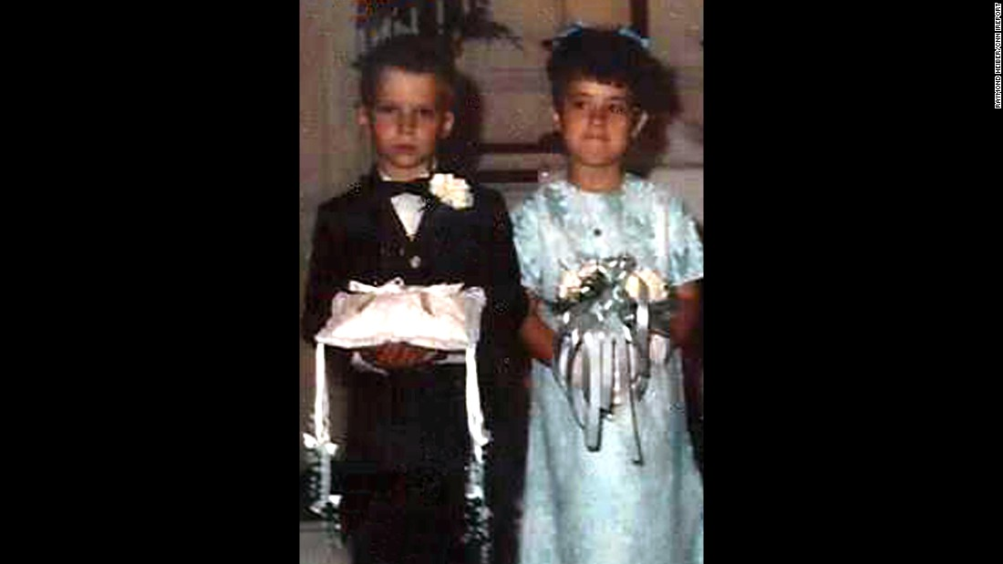 Raymond Heiber and Helen Klinger first walked down the aisle as ring bearer and flower girl 45 years ago, when his uncle married her sister.