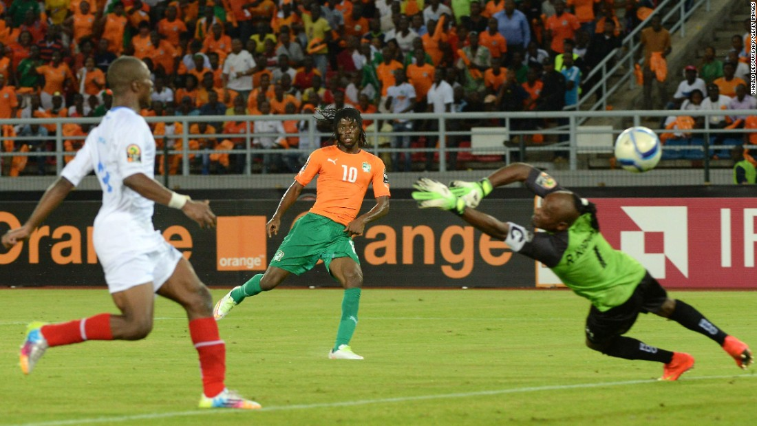 AS Roma midfielder Gervinho restored Ivory Coast's lead with a precise finish after DR Congo striker Dieumerci Mbokani had brought his side level from the penalty spot.