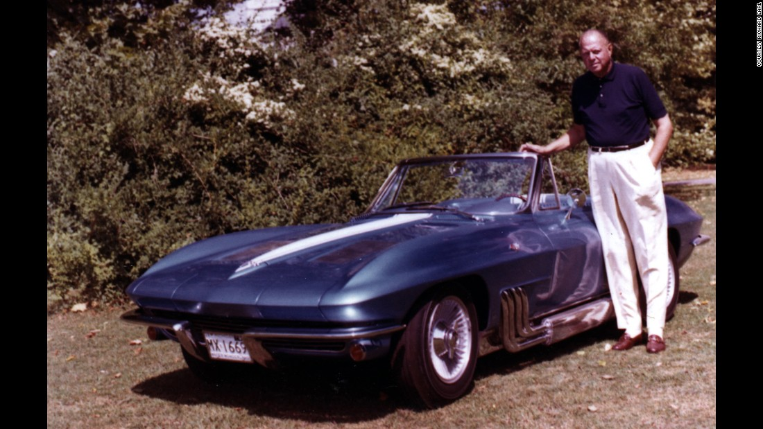 "The father of the iconic Corvette, General Motors car designer Harley Earl, stands next to his personal custom model, a 1963 Sting Ray convertible with chrome side-pipes. GM describes the Corvette as the ""world's longest-running, continuously produced passenger car."" Experts call it the most collected car in America. Click through the gallery for more Earl family snapshots."
