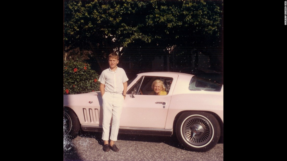 Sue Earl enjoys the cockpit of her 1965 Sting Ray. She's pictured with her grandson Courtney in 1966.