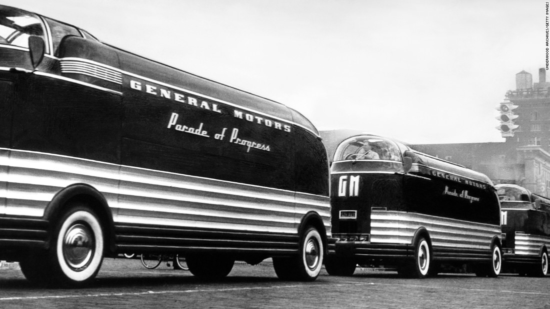 The General Motors Futurliner, also designed by Earl, weighed about 30,000 pounds. GM built 12 Futurliners to carry animated exhibits across the United States for a GM road show called Parade of Progress during the 1940s and '50s. A Futurliner recently sold at auction for $4 million.