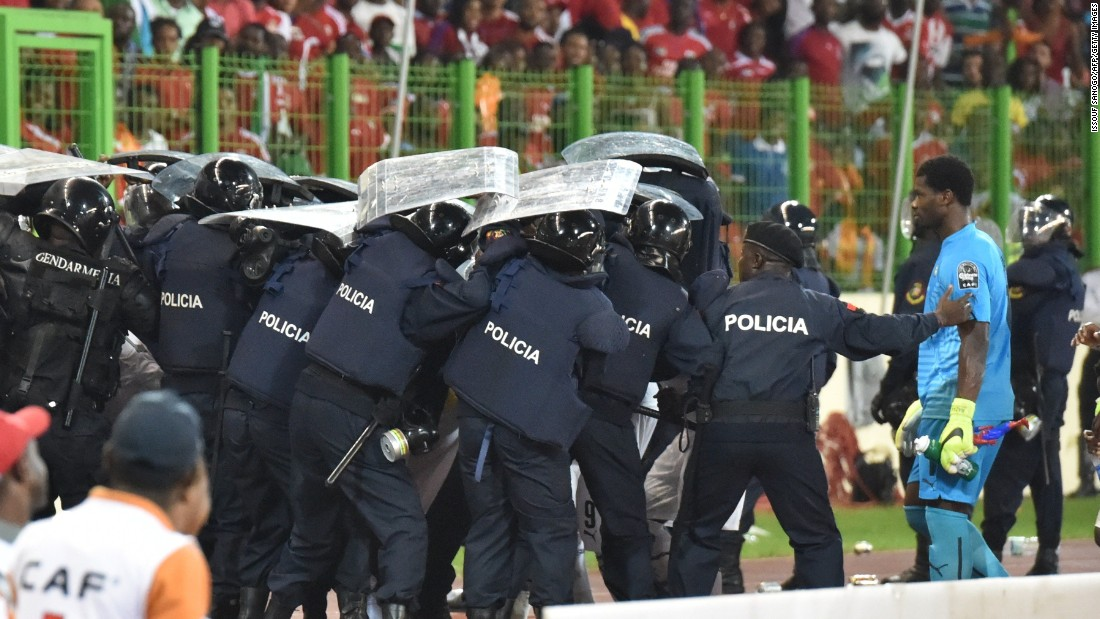 Ghana players had earlier been the target of missiles as they left the pitch at half-time with police needed to step in.