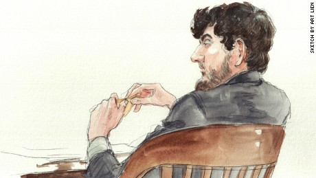 Courtroom sketches make Tsarnaev appear to be a cross between Rasputin and Abraham Lincoln.