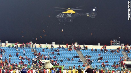 Helicopter disperses fans