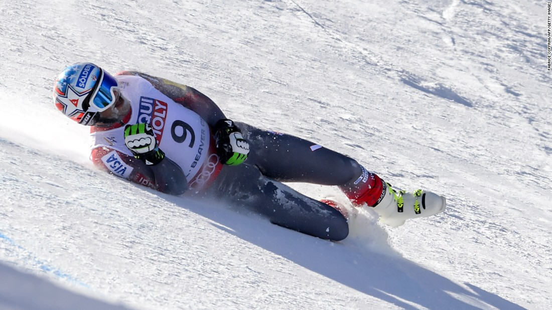 Bode Miller had been setting the fastest run of the day before crashing and severing a hamstring tendon at the World Championships.