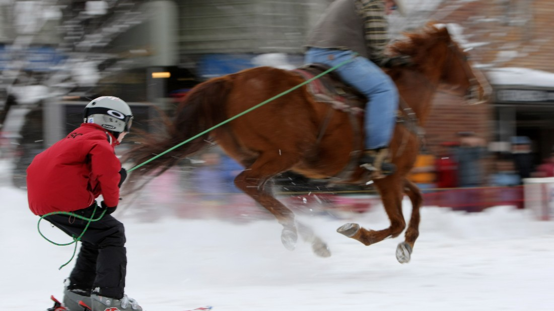 In the United States, the sport is different with riders on board the horses and skiers pulled along by a single rope.