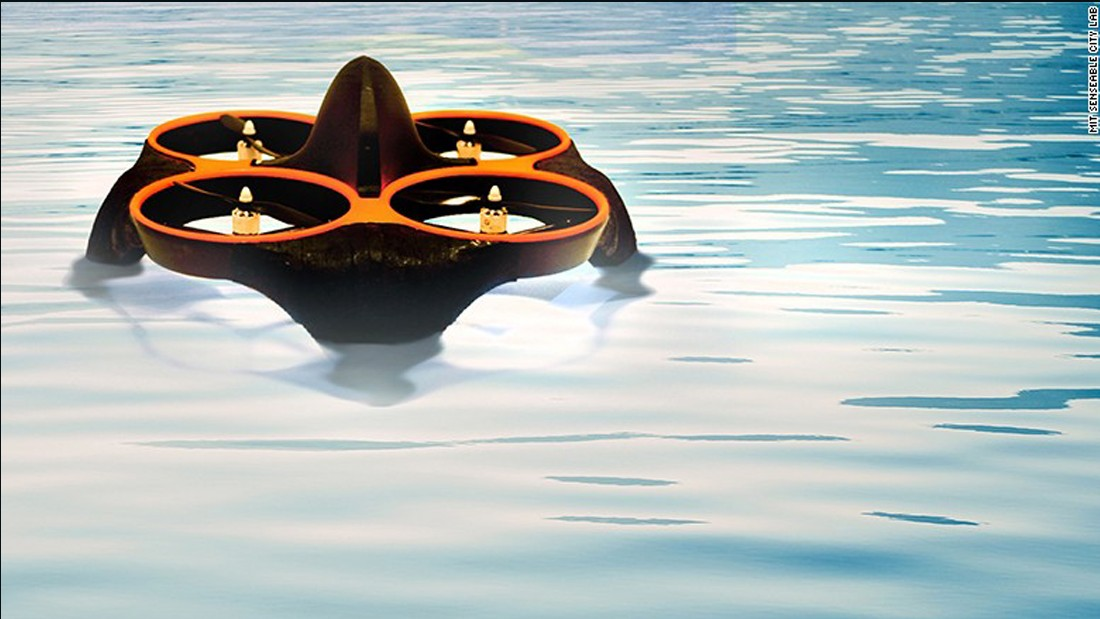 The Waterfly drone operates in a team to scan lakes and rivers for traces of cyanobacteria, harmful to both humans and wildlife. The drone, created by a team of MIT researchers, first identifies certain colors on the water via spectral analysis, before lowering itself onto the surface to collect a sample. This is scanned by the drone before the analytic data is uploaded to the web automatically.