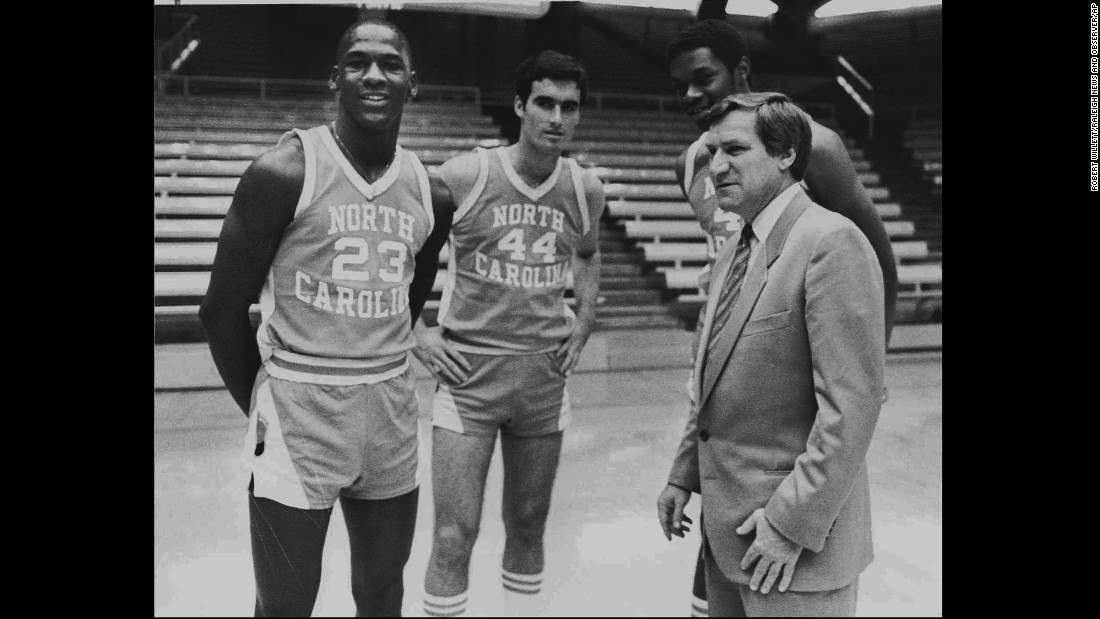 Jordan, Matt Doherty and Sam Perkins pose alongside Smith on October 14, 1982. Perkins went on to a successful NBA career, while Matt Doherty would return to Chapel Hill in 2000 to coach the Tar Heels.