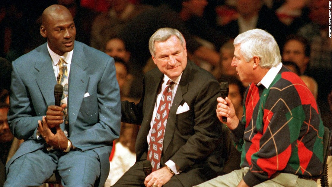 Jordan, Smith and former Indiana and Texas Tech coach Bobby Knight are seen during a celebration for Jordan at the United Center in Chicago. Smith and Knight are considered among the best men's college coaches in history.