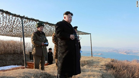 "North Korean leader Kim Jong Un inspects the test-firing of a new type of ""anti-ship rocket."""