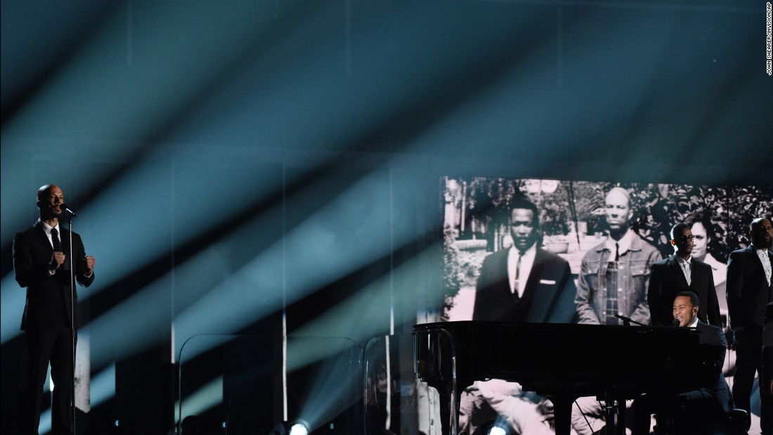 "Common and John Legend perform their song ""Glory"" to close out the 57th annual Grammy Awards on Sunday, February 8. The song, from the movie ""Selma,"" recently won a Golden Globe for Best Original Song."