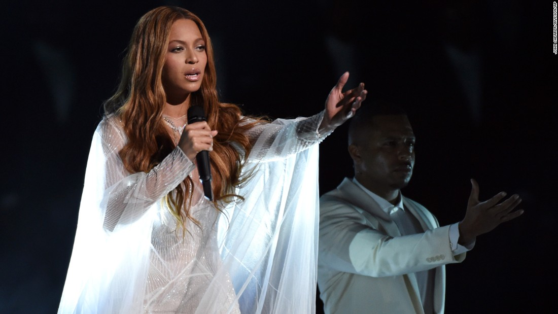 "Beyonce sings the gospel song ""Take My Hand, Precious Lord."""