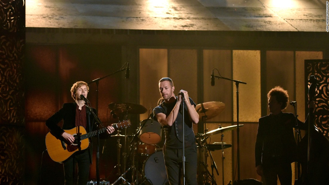 "Chris Martin joins Beck for a performance of Beck's ""Heart Is a Drum."" Beck won Album of the Year and Best Rock Album for ""Morning Phase."""