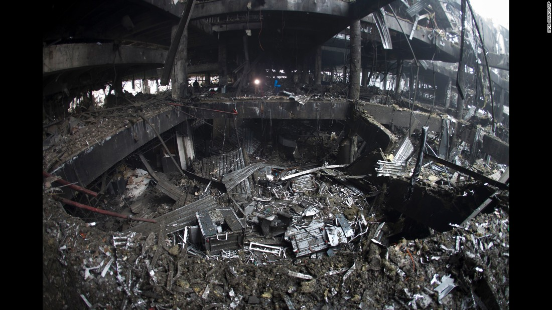Rubble and debris cover the airport in Donetsk on Wednesday, January 21.