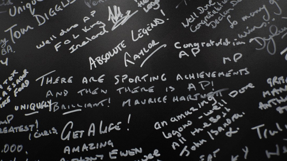 That led to a wall of celebration at Cheltenham Racecourse where racegoers were encouraged to write their own well wishes.