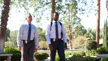 "Titus Welliver, left, and Jamie Hector are LAPD officers Harry Bosch and Jerry Edgar in ""Bosch."""