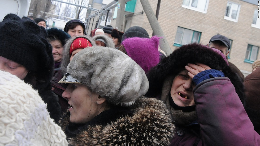 Residents desperate for food wait their turn. Only an estimated 3,000 remain from a city that normally has 25,000 residents. Pro-Russian forces have been attempting to encircle the city from the north.
