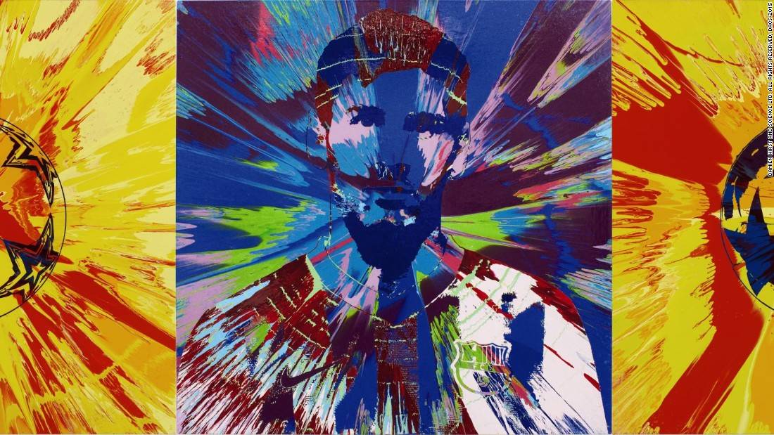 The auction is was held at Sotheby's in London on Thursday and also featured this Messi-inspired piece by British art icon Damien Hirst -- which fetched $562,000. In total, the auction raised $3.8 million.