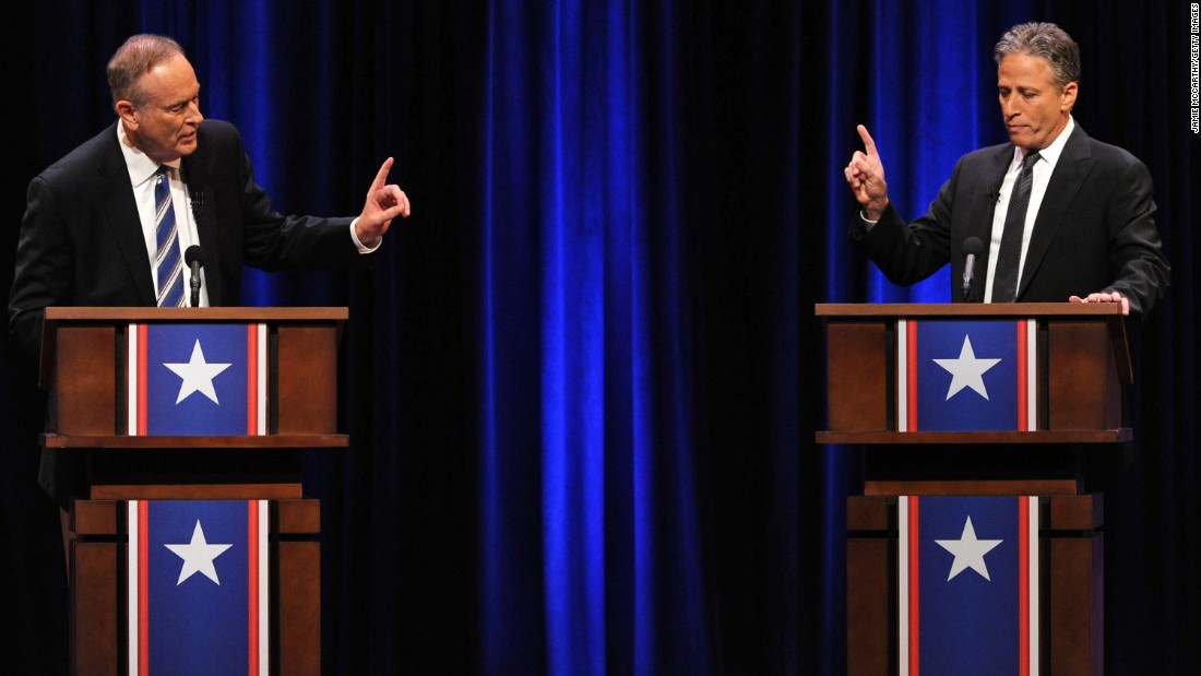 "In 2012, Stewart and Fox News' Bill O'Reilly ""competed"" in a mock debate called the ""Rumble in the Air-conditioned Auditorium."" Their jousting topics ranged from health care to entitlement spending, from Christmas to government counting of calories."