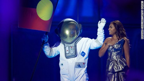 A hint last year? Australia's Jessica Mauboy performed during the second semi final, with an Aboriginal flag and, um, astronaut.