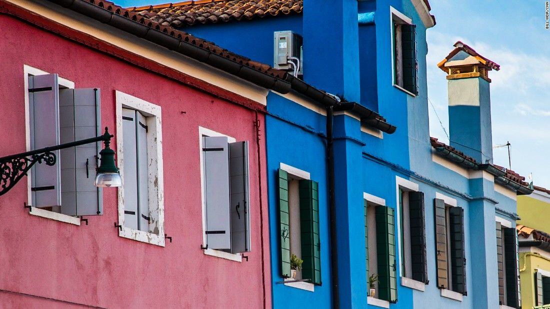 The starkly colorful houses of the Venetian island of Burano.