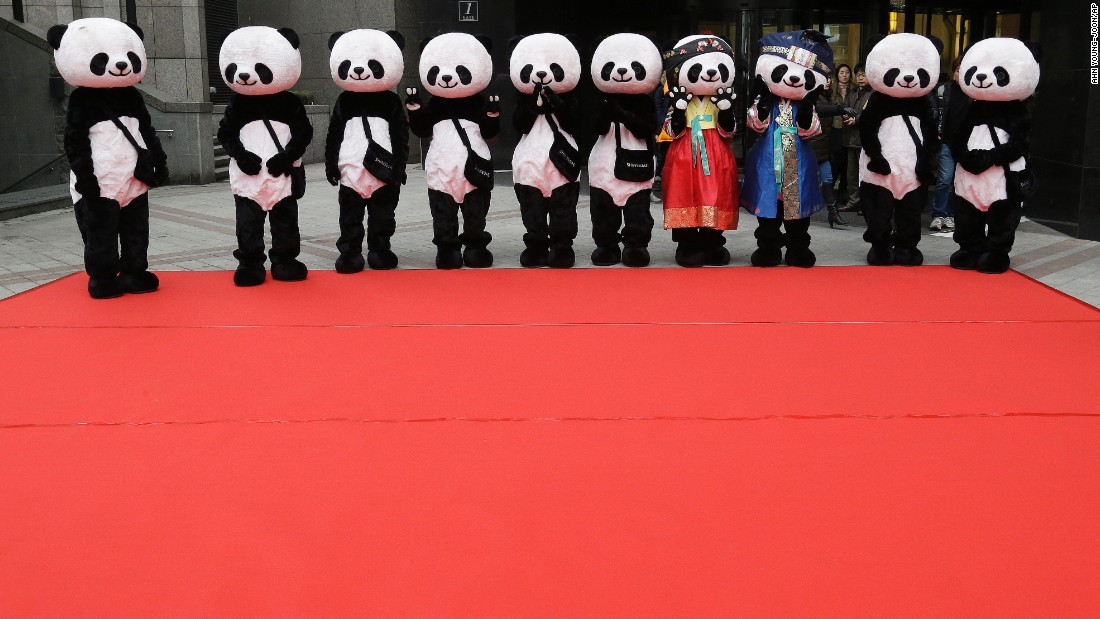 Workers wearing panda costumes wait for the start of a promotional event in front of a department store in Seoul, South Korea, on Tuesday, February 10.