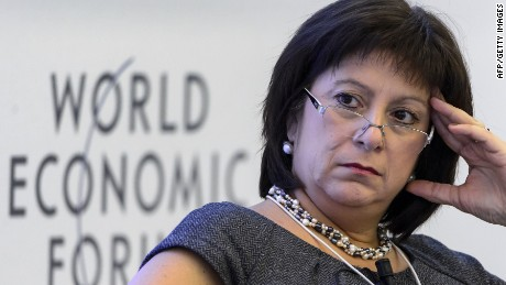 Ukrainian Finance Minister Natalie Jaresko attends a session of the World Economic Forum (WEF) annual meeting on January 22, 2015 in Davos. AFP PHOTO / FABRICE COFFRINIFABRICE COFFRINI/AFP/Getty Images