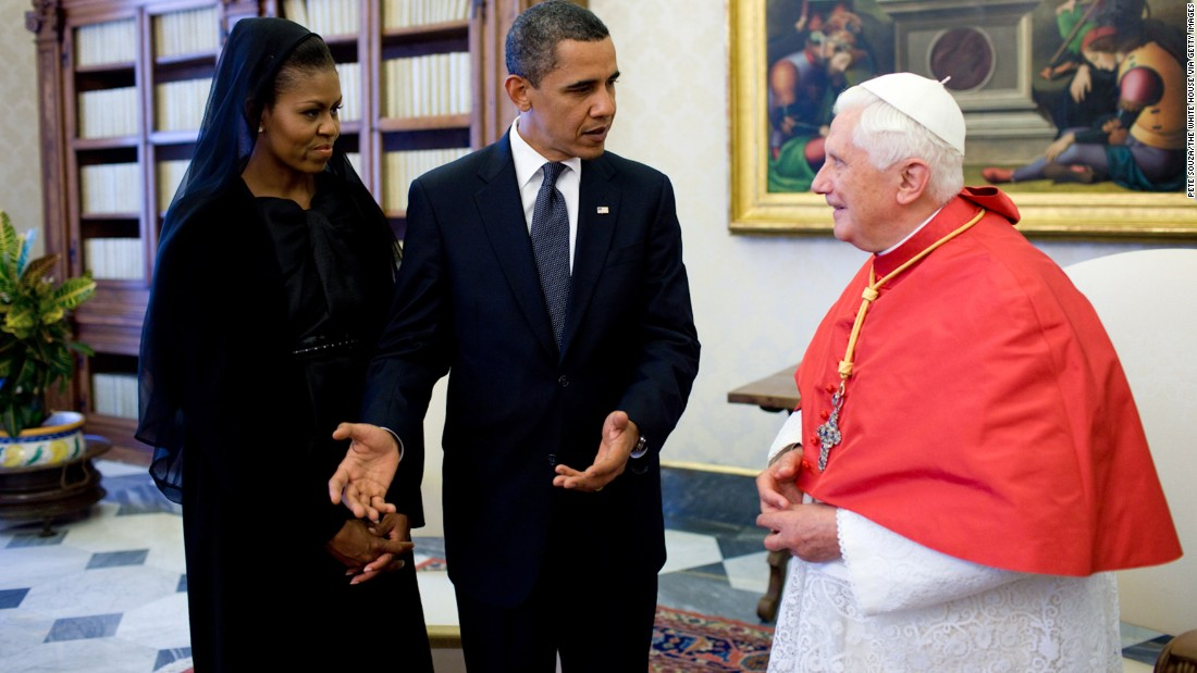Obama and the first lady meet with Pope Benedict XVI in Vatican City in July 2009.