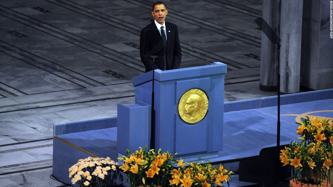 Obama delivers a speech after receiving the Nobel Peace Prize in Oslo, Norway, in December 2009.