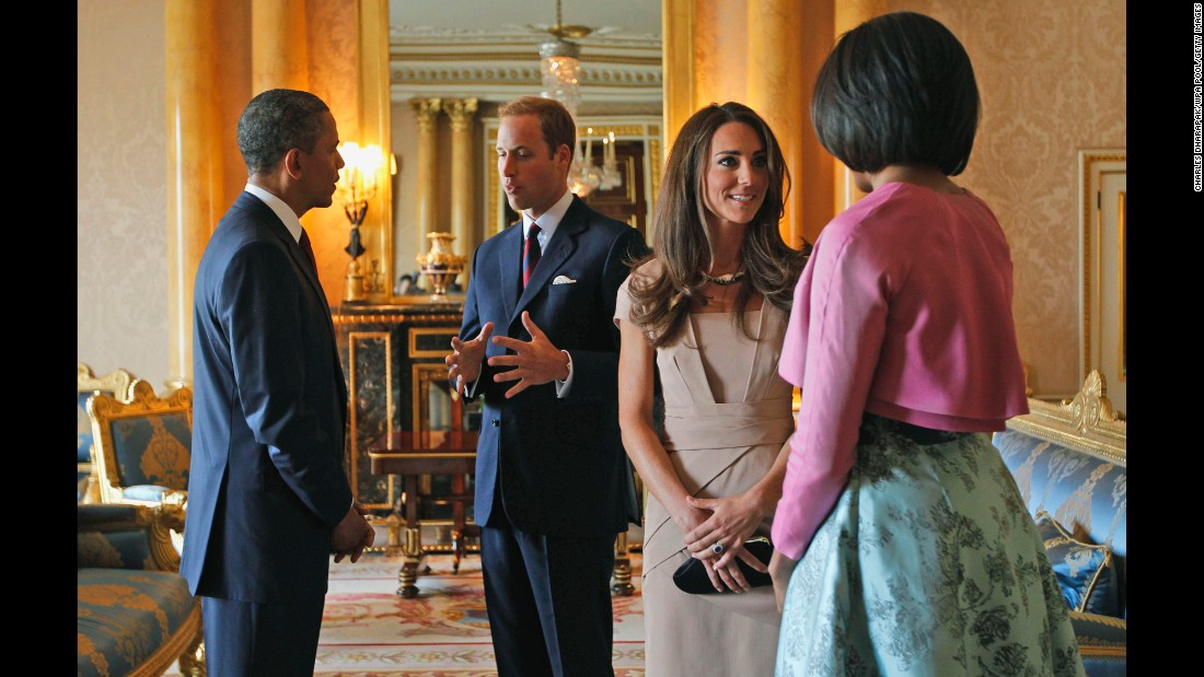 Obama and the first lady meet with Britain's Prince William and Catherine, Duchess of Cambridge, at Buckingham Palace in May 2011.