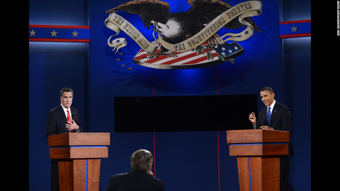 Obama and Republican presidential candidate Mitt Romney participate in the first presidential debate of the 2012 election.