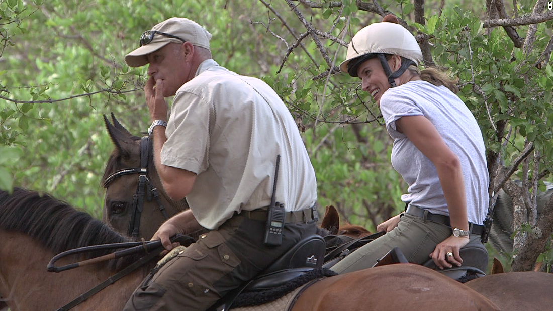 Philip Kusseler (left) took CNN's Winning Post presenter, Francesca Cumani into the African bush on a recent shoot. Kusseler, who runs the Wait A Little safari business in South Africa, has a range of breeds in his stable including former thoroughbred racehorses.