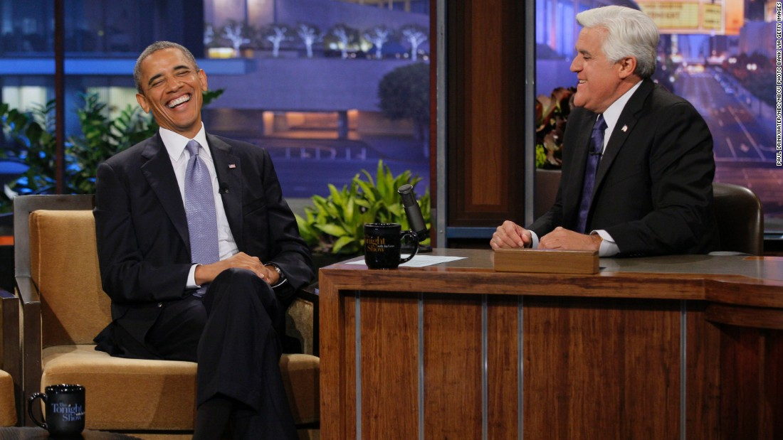 "Jay Leno interviews Obama on ""The Tonight Show"" in August 2013."