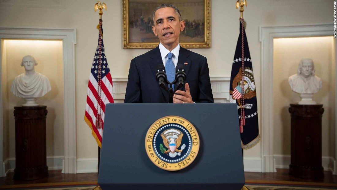 Obama speaks to the nation about normalizing diplomatic relations with Cuba in December 2014.