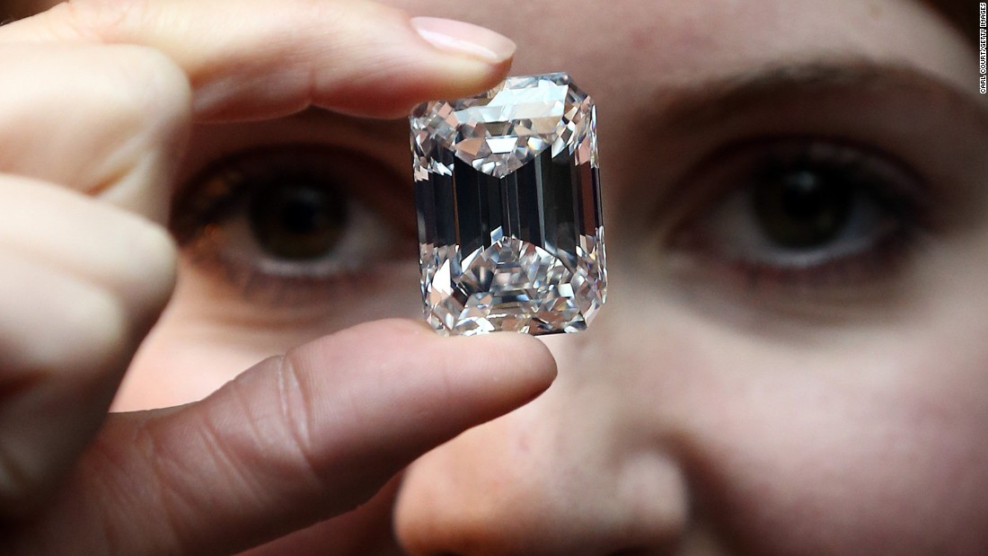 A 100-carat perfect diamond that will be auctioned in April is shown at Sotheby's auction house in London.