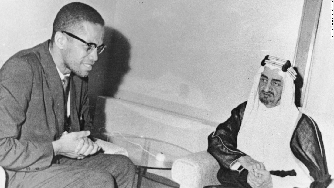 In 1964, Malcolm X made a trip to Mecca after he split with the Nation of Islam. He is seen here with Saudi Prince Faisal, who would later become king.
