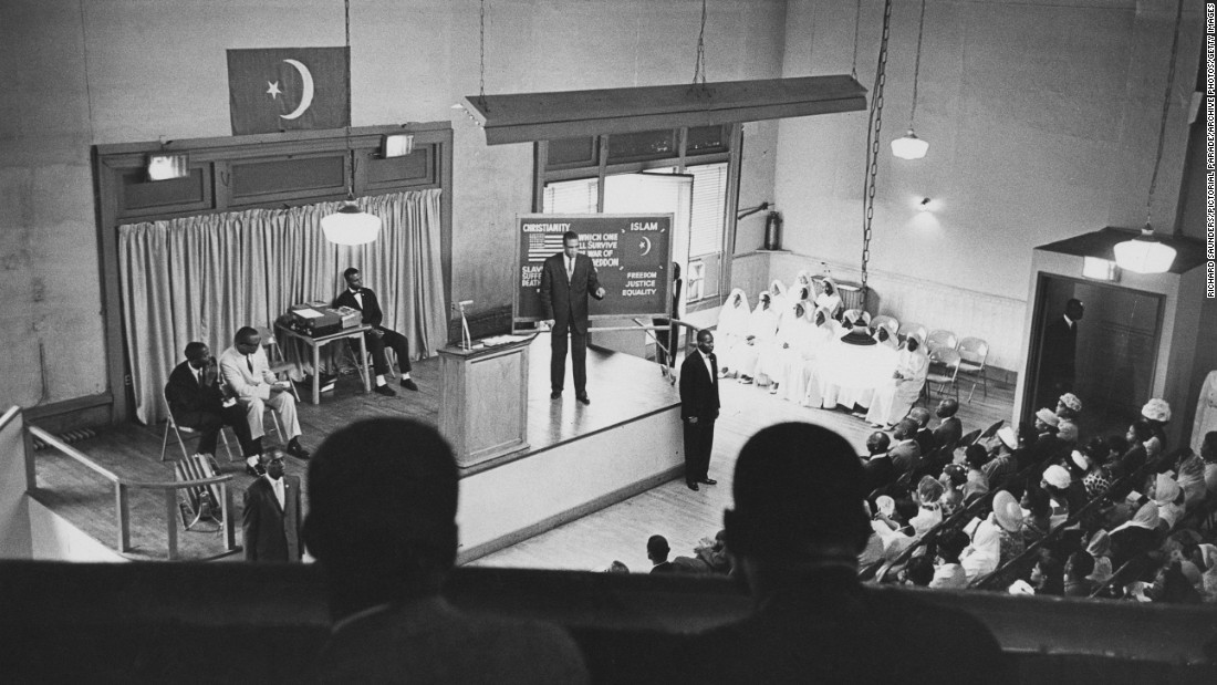 Malcolm X preaches in Harlem in August 1963. He rose quickly within the Nation of Islam. Those who followed him said he was one of the most dynamic speakers they had ever heard.
